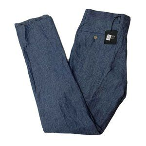Nordstrom Shop Pants Size 36W Blue 100% Linen NWT